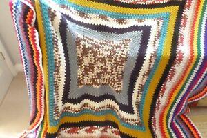 Handmade vintage retro new crochet granny blanket sofa bench throw campervan