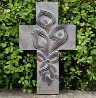 Brown Cross Wall Hanging Canna Easter Lilly.