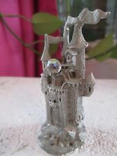 Vintage Pewter Castle With Crystal Ball Marked 1985