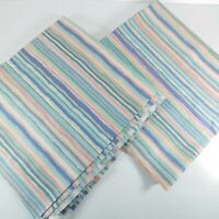 Vintage 80s Remnant Fabric Striped 2.6yds Decor Craft 1989 Scotchgard Blue Green