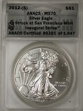 2012 S American Silver Eagle ASE Dollar Coin 25th Anniversary ANACS MS-70