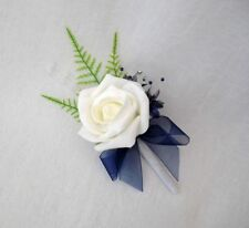 SINGLE IVORY & NAVY BLUE ROSE BUTTONHOLE, CRYSTALS, ARTIFICIAL WEDDING FLOWERS