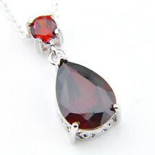 Handmade Genuine Teardrop Fire Red Garnet Silver Necklace Pendant With Chain New