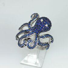 14k WHITE GOLD BLUE SAPPHIRE DIAMOND OCTOPUS NATURE AQUATIC FINGER WRAP RING