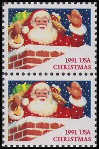 US 2579 Christmas Santa Claus in Chimney First Class 29c vert pair MNH 1991