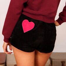 Carino Vintage Nero e Rosa a cuori in pelle scamosciata Hotpant Pantaloncini VALERIE By Valerie Stevens