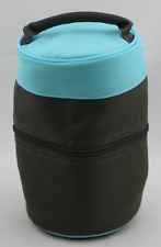 """Tupperware Meal Solutions To Go Insulated Lunch Bag Aqua and Brown 8"""" Tall New"""