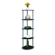 New Stylish 5-Tier Corner Shelf Display Storage Organizer Home Decor, Black/Grey