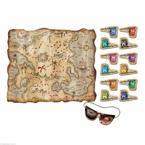 Pirate Treasure Map Pin The Flag Children Kids Fun Game Halloween Party Decor