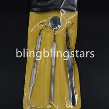 3 Pcs Dental Examination Kit Basic Hygiene Tweezer Mirror Explorer Cleaning Tool