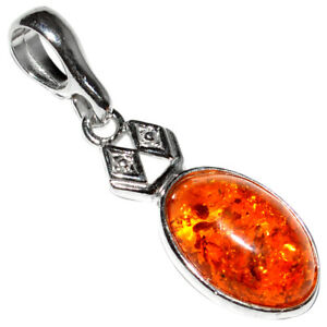 1.4g Authentic Baltic Amber 925 Sterling Silver Pendant Jewelry N-A1954