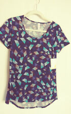Lularoe Classic T Shirt Short Sleeve Blue Geometric Print Size XXS #6053