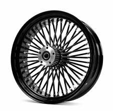"""48 Fat King Daddy Mammoth Black Out Spoke Rear 18"""" X 10.5 Wheel Black Rim Harley"""