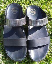 FITFLOP Woven Silver Black leather platform thong sandals shoe sz. 9