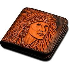 Handmade Carved Wallets Mens Genuine Leather Bifold Wallet Hard Card Case Purse