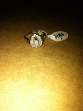 Glamour Cocktail CZ Ring Sterling Silver Gold Plated Size US 6