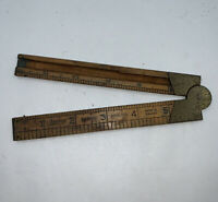"Antique Lufkin No. 372R  Boxwood and Brass Folding 12"" ruler Made in England"