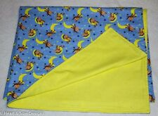 Handmade Blue Monkey Double Layer Flannel  Recieving  blanket  35 x 42