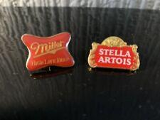 Stella Artois And Miller Beer Pin Badges