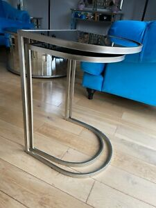 Pr Mirrored Glass Side Sofa End Tables Nest Silver Furniture Interiors - SECONDS