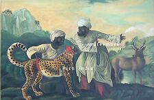 Cheetah with two Indian servants and a deer animal Painting Artwork George Stubb