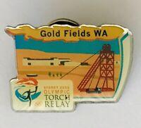 Gold Fields Australia Sydney 2000 Olympics Torch Relay Pin Badge Vintage (J9)