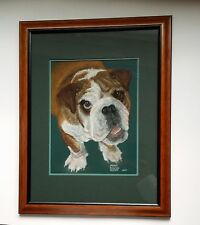 English Bulldog Portrait Painting Pastel Bull Dog Framed Original Art Signed