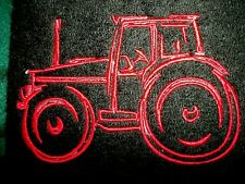 Red Tractor Design Embroidered, Black Color Hand Towel