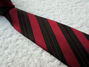 BURGUNDY BLACK PADDED STRIPED 3 inch POLYESTER NECKTIE tie from GEORGE