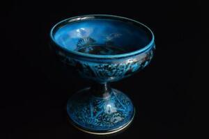 P3857: Japanese Kiyomizu-ware Blue glaze Bird Pattern Kashiki DESSERT BOWL/dish