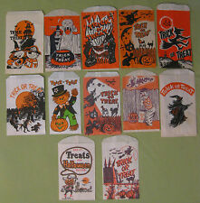 Vintage 1940s Bundle of 12 Different Halloween Trick or Treat Candy Bags New