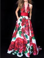 Women Vogue Floral Halter Open Back Evening Party Wedding Long Flared Dress SKGB
