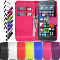 Wallet Leather Flip Case Cover Pouch  + Stylus For Microsoft  Lumia 640