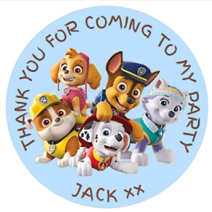 24 LARGE Personalised PAW PATROL INSPIRED Party Bag Stickers  60mm