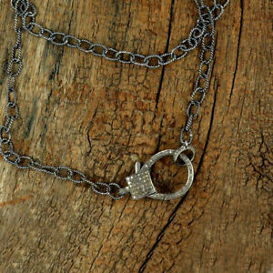 Genuine Pave Diamond Lobster Clasp Necklace Oxidized Sterling Silver Connector