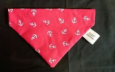 Slide on dog bandana size S in red with white anchors   polycotton
