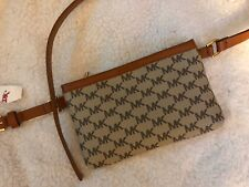 NWT Michael Kors Brown Signature Leather Fanny Pack Belt Bag Size XL