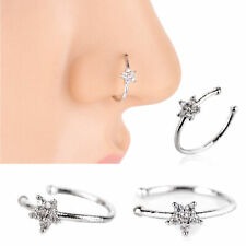 1X Small Thin Clear Crystals Flower charm Nose Silver Hoop Stud Ring jewelry