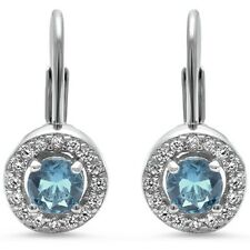 Halo Aquamarine & Cz .925 Sterling Silver Earrings