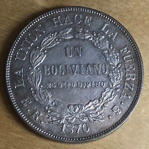 Bolivia 1870 Boliviano; KM-155.3; Choice AU (#cr273)
