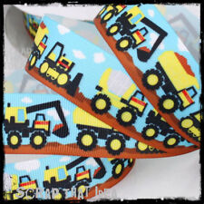 "Work Trucks  RIBBON.  1"" Grosgrain.  TONKA.  Scrapbooking / Craft. Boys, Kids"
