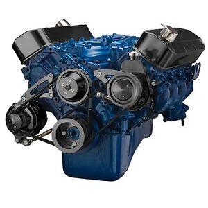 Black Big Block Ford Serpentine Pulley Conversion Kit Power Steering 429 460 BBF