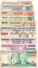 More details for 10x turkey banknotes set 20,000,000 5,000,000 1,000,000 500,000 250,000...lirasi