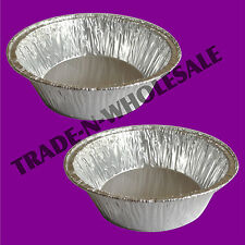 100 x INDIVIDUAL DEEP FOIL PIE DISHES, SMALL ROUND CASES, QUICHE, CUSTARDS, PIES