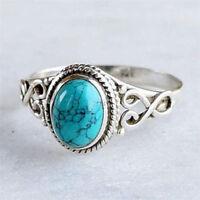 Vintage 925 Silver Ring Women Turquoise Gemstone Wedding Engagement Size 6-10