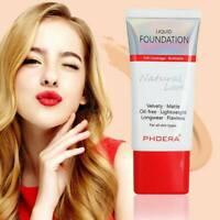 PHOERA Matte Liquid Skin Foundation Full Coverage Lasting Light Face Cosmetic