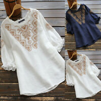 ZANZEA 8-24 Women Floral Embroidered Top Tee T Shirt Vintage Loose Cotton Blouse