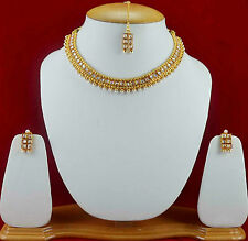 Indian Bridal Gold Necklace Choker Costume Copper Jewellery Earrings Sets f47n43