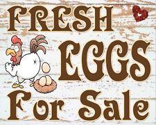 "10 x 8"" FRESH EGGS FOR SALE HENS CHICKENS FARM FARMER METAL PLAQUE TIN SIGN N378"