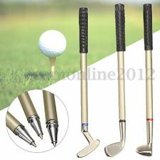 3Pcs Mini Golf Club Putter Ball Pen Ballpoint Golfers Gift Box Set Desktop Decor